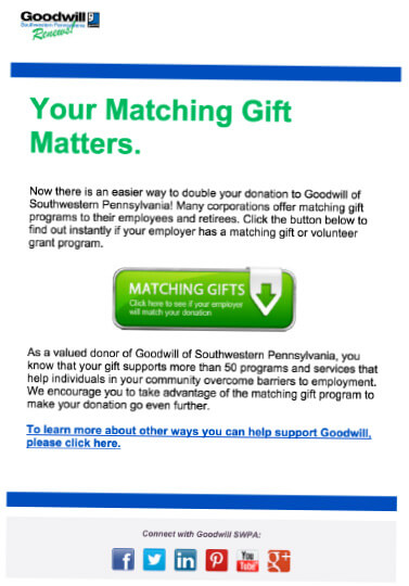 Check out Goodwill's matching gift promotion over email.