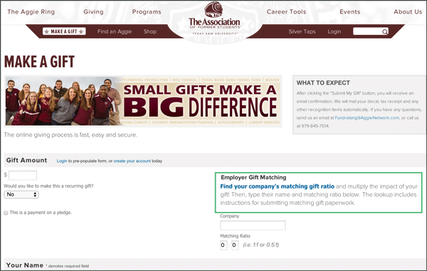 Check out Texas A&M's matching gift tool.