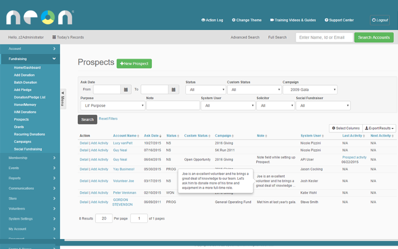 NeonCRM Prospect Management Workflows