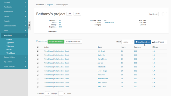 NeonCRM Volunteer Project Management Module