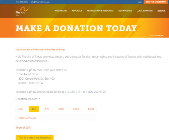 Even the Arc of Texas' donation form is clearly branded, establishing consistency and supporter trust across their website.