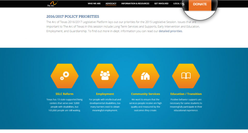 Nonprofit Website Prominent Donation Button Example: The Arc's Policy Page
