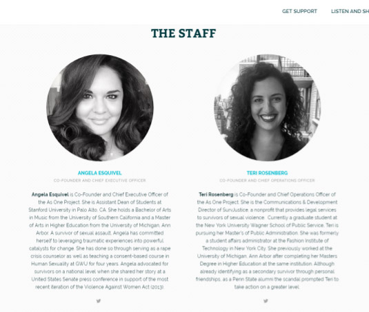 The As One Project has included a page on their website that features staff photos and bios. That way, if the media ever wanted to feature the organization, their staff would be represented appropriately.