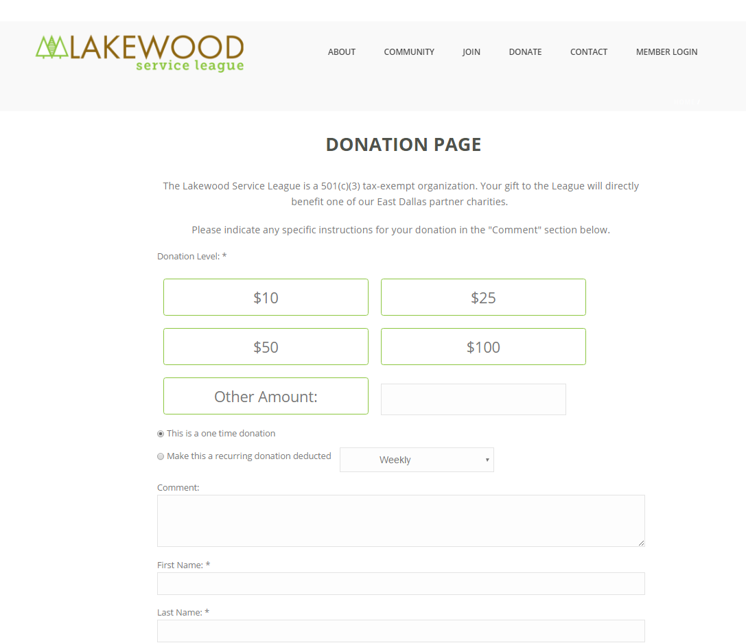 Lakewood Service League's donation form is powered by NeonCRM, integrating their website with their donor database.