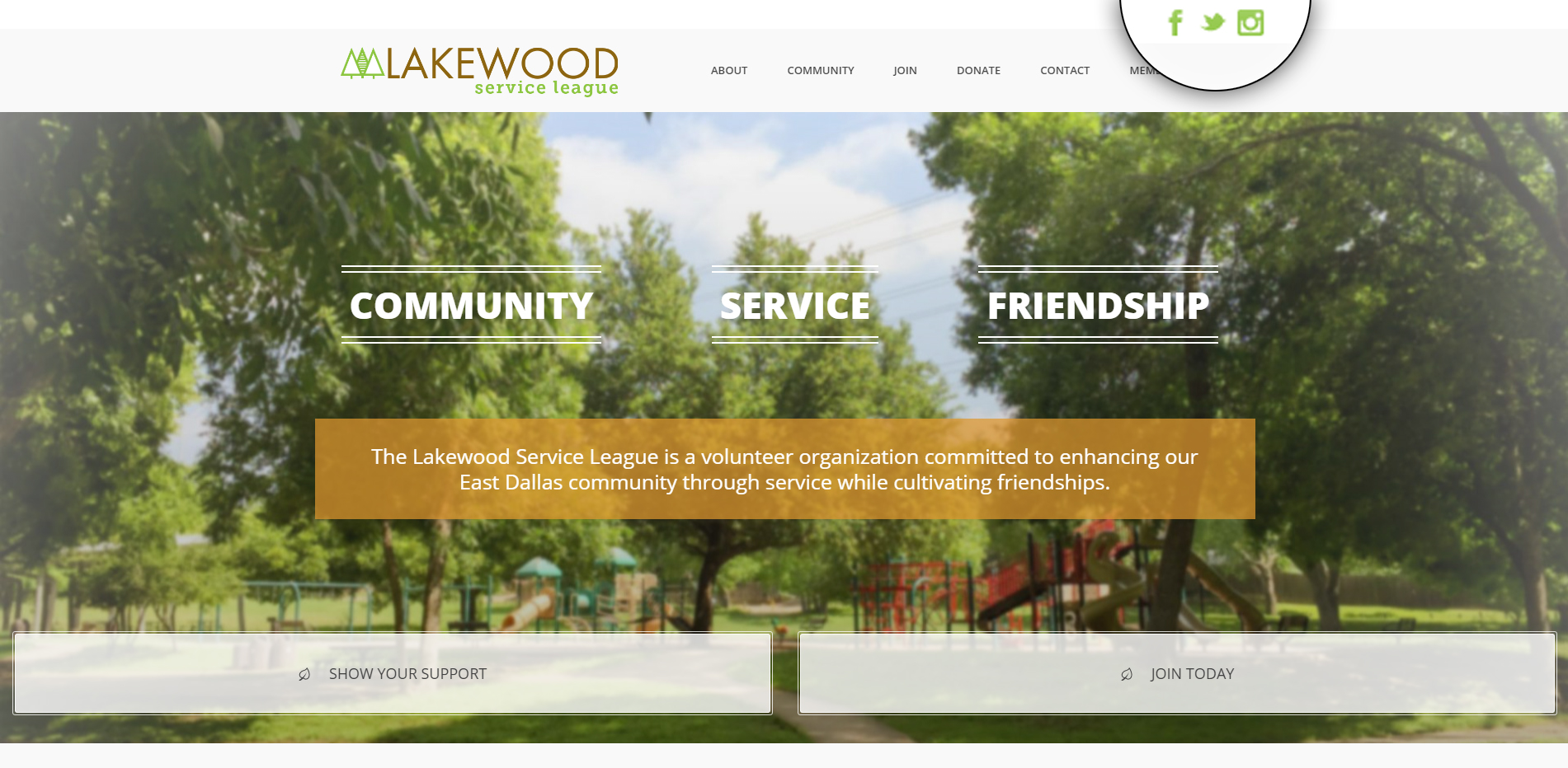 Lakewood Service League has included social sharing buttons in the very top right corner of their page. Notice how they've featured them in a bright color so that users can easily spot them and share Lakewood's content with their networks.