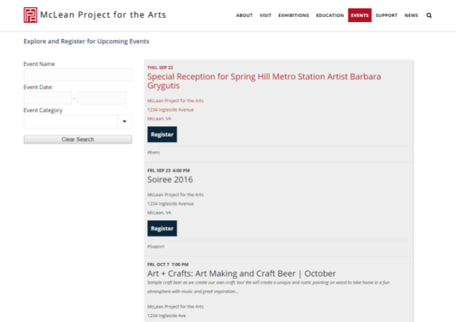 McLean Project for the Arts has dedicated a page on their website to their events. Including this page enables them to update their website regularly to keep their donors engaged.