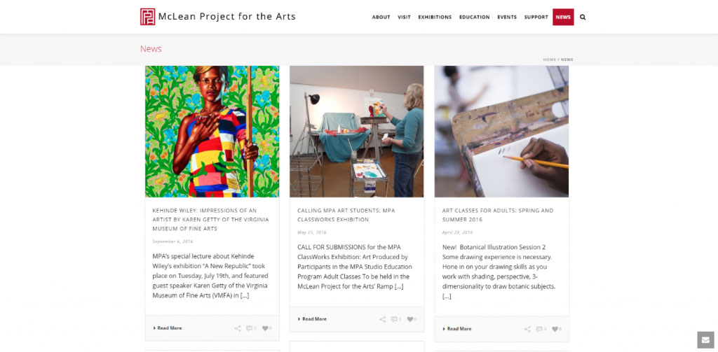 McLean Project for the Arts has spiced up their news page by adding vivid images. The images they've included add visual interest to the page and illustrate their mission and projects in a compelling way.