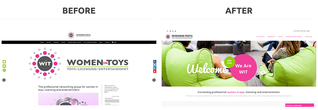 Women in Toys' website got a major overhaul so that it would look more modern and credible to their visitors.