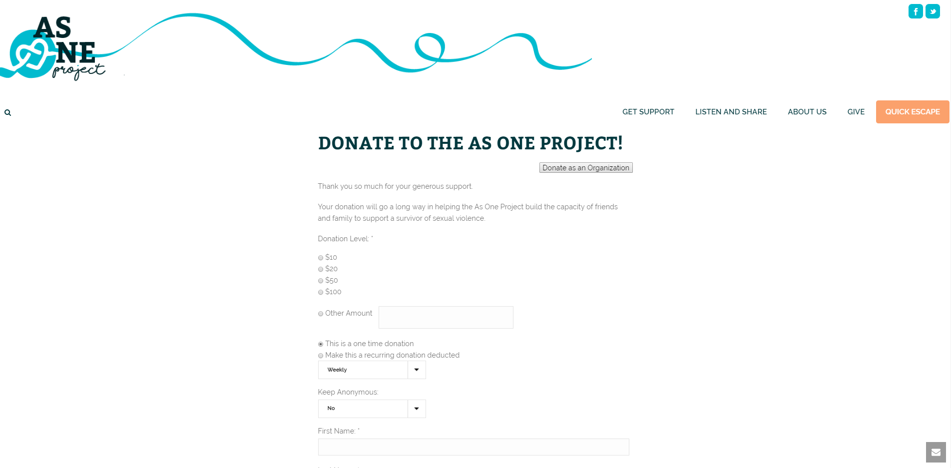 Neon Nonprofit Web Studio | As One Project | Donate