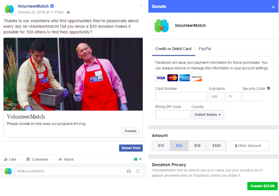 Volunteer Match successfully engages their volunteers over Facebook by encouraging organizational awareness, demonstrating the need for their donation appeal, and implementing a direct call-to-action.
