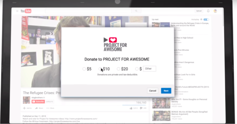 Sign up for Google for Nonprofits to add a donation form directly to your YouTube videos for a better chance of engaging your volunteers through social.
