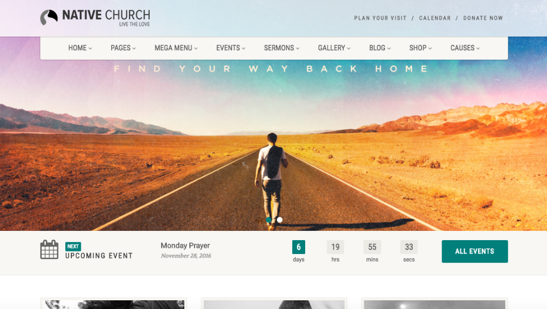 nativechurch has designed a wordpress template specifically for nonprofits churches and other religious groups - Template