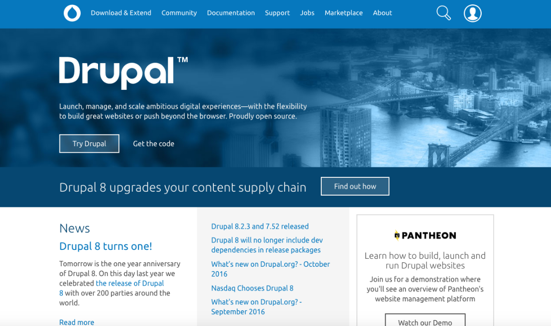 Drupal is an advanced content management system and nonprofit website builder that's great for nonprofits who are tech savvy.