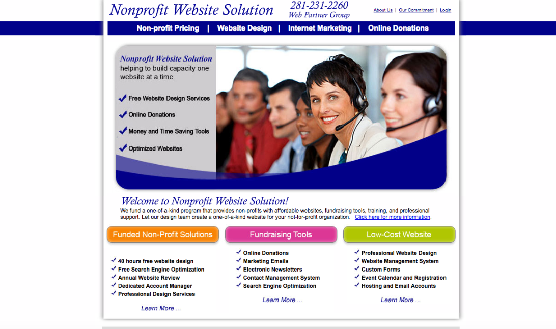 Nonprofit Website Solution helps organizations build websites and learn content management systems for easy upkeep.