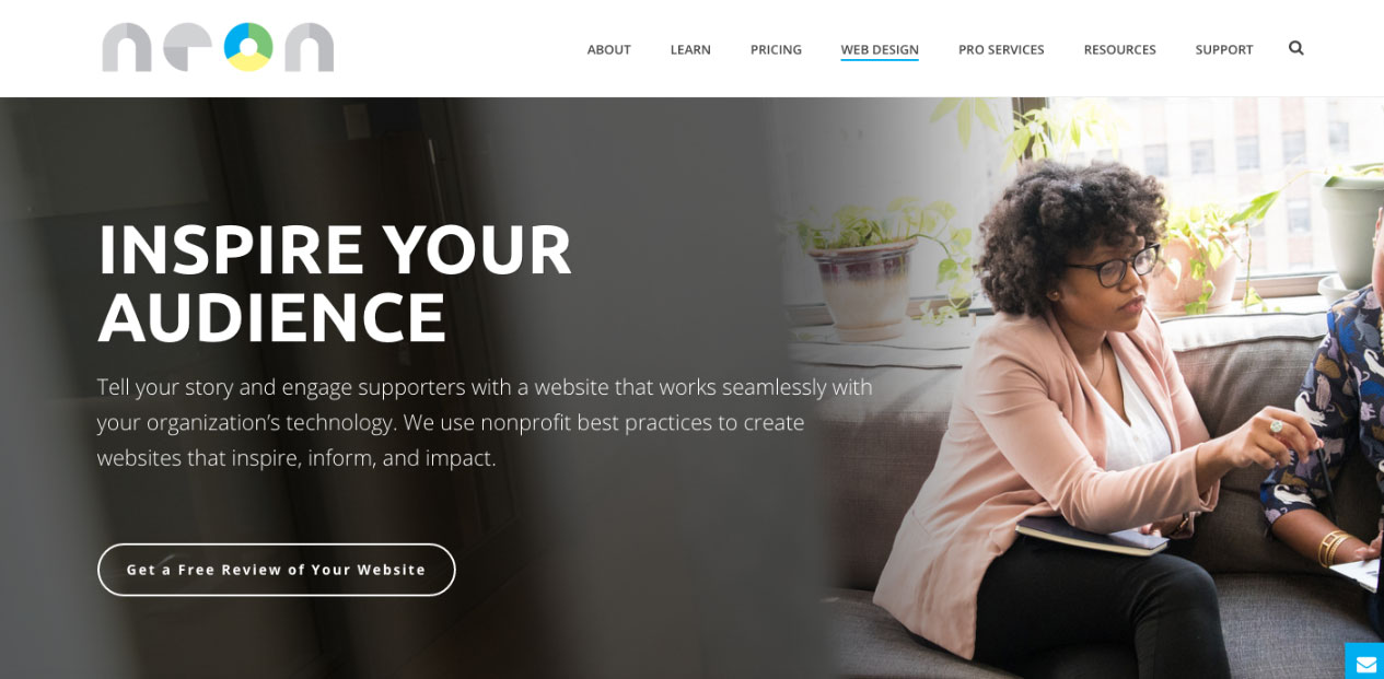 NeonCRM's WordPress Inspire theme was built specifically for nonprofits so you can build a beautiful website without the need for complex coding!