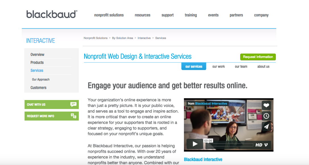 Blackbaud offers a range of nonprofit-specific web design services, geared towards larger organizations.