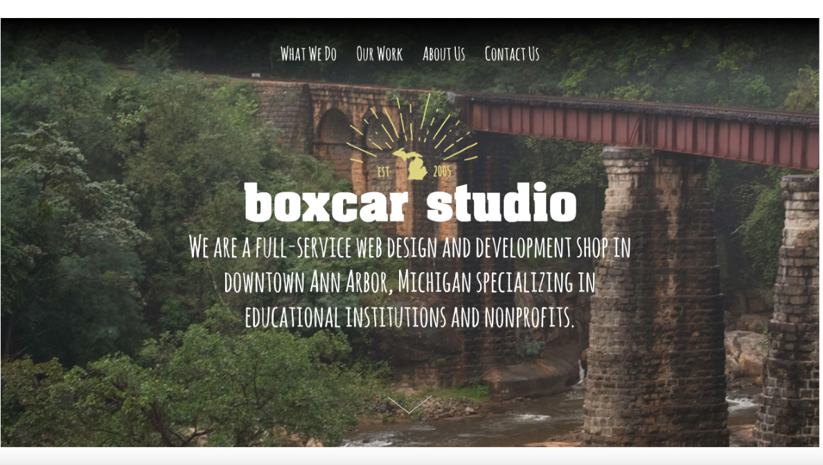 Boxcar Studio is a nonprofit web design firm that offers services including user research, information architecture, branding, design, and development.