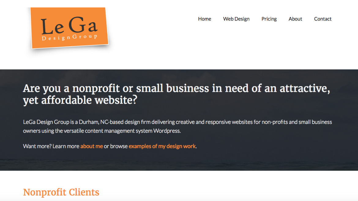 Le Ga Design Group works with nonprofits and small business to help them design beautiful websites at a affordable price.