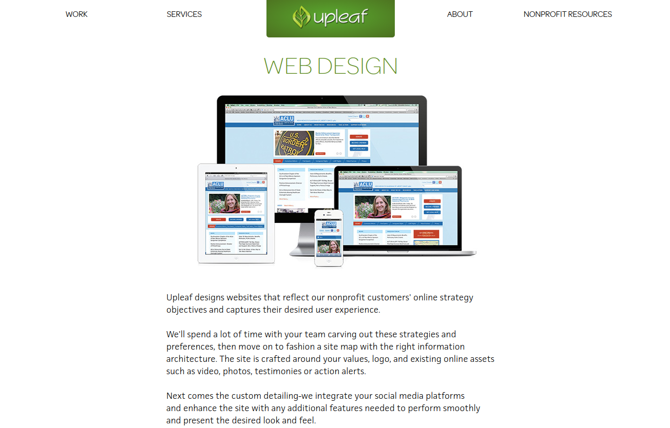 Upleaf offers nonprofits responsive web design using WordPress and Drupal.