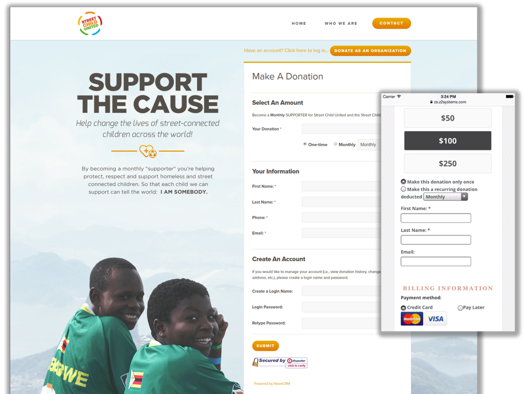 Build custom, mobile-responsive online donation forms with NeonCRM.