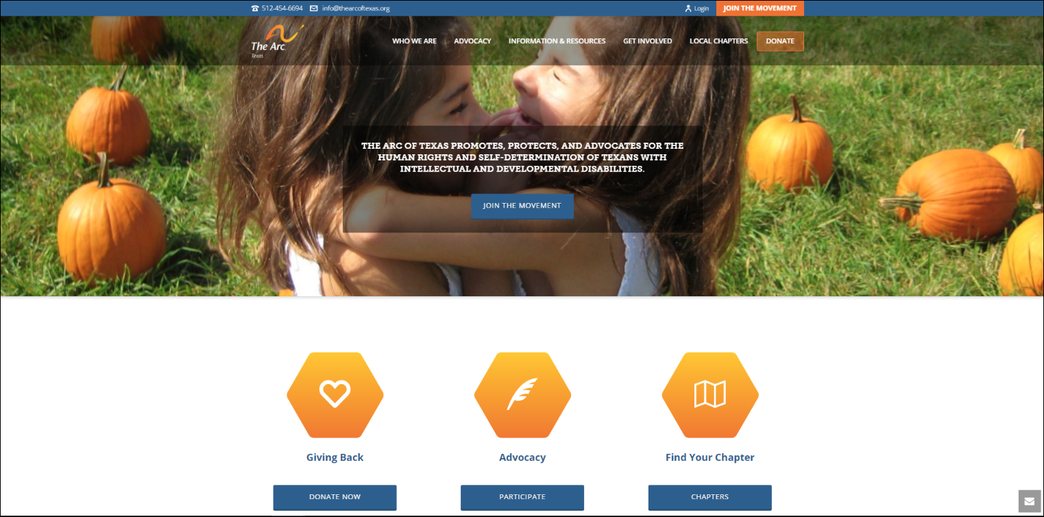 The Arc's nonprofit website features a compelling hero image, clear buttons, and bright colors.