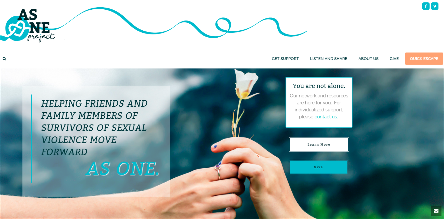 The As One nonprofit website is simple and beautifully designed.