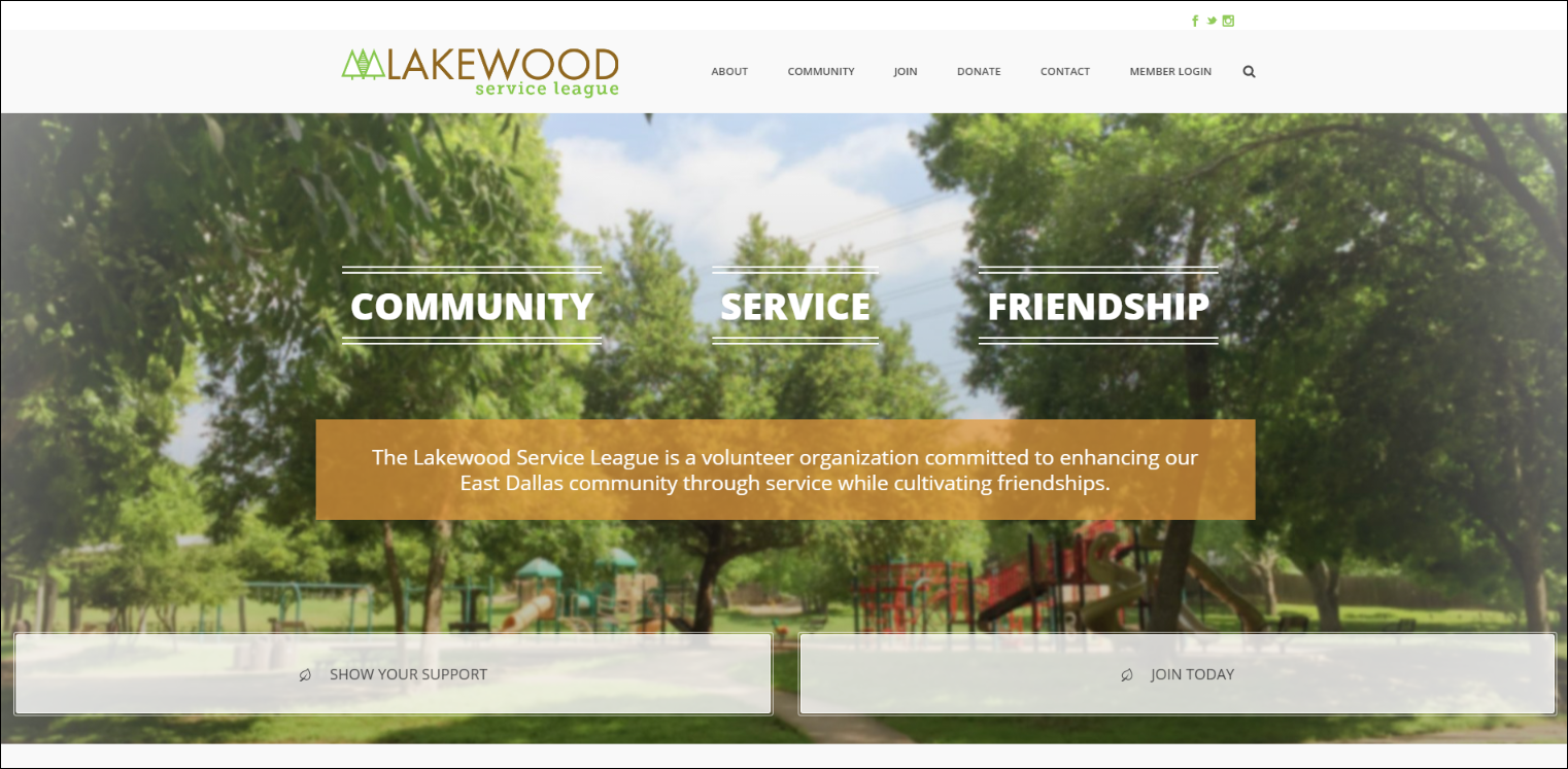 Lakewood Service League has a nonprofit website that reflects their brand and mission.
