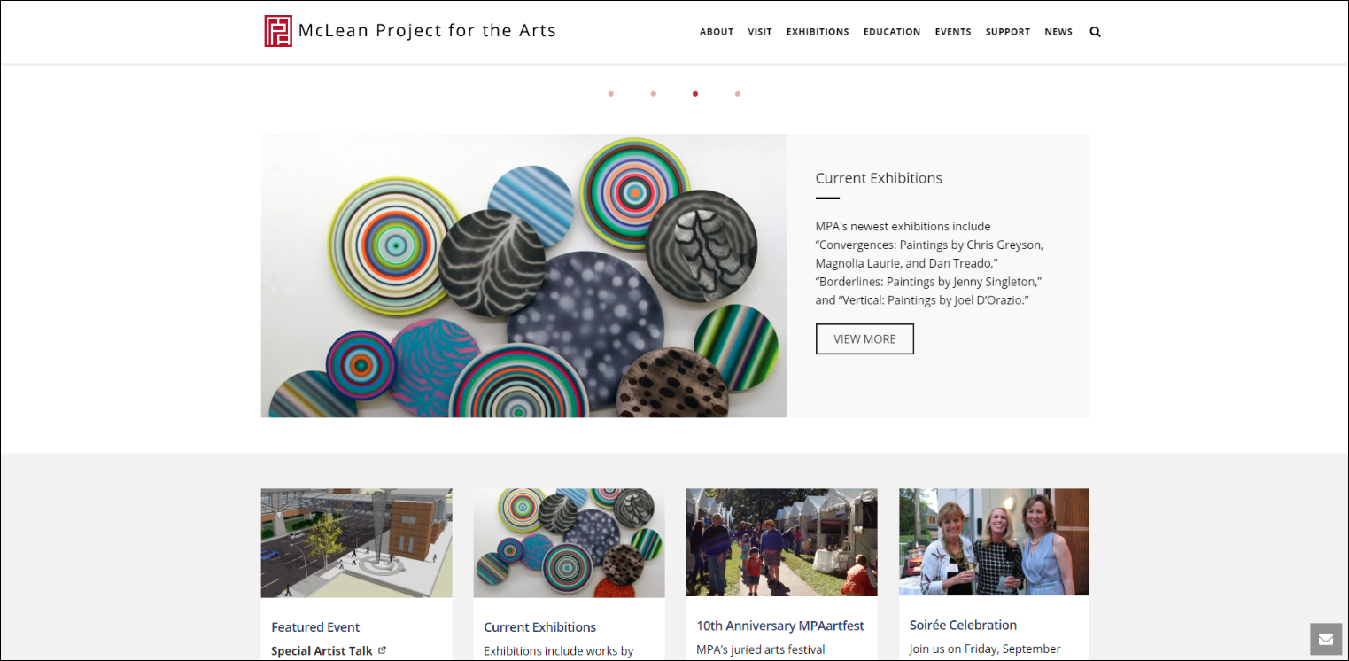 McLean Project for the Arts' website is minimalist and easy to navigate.