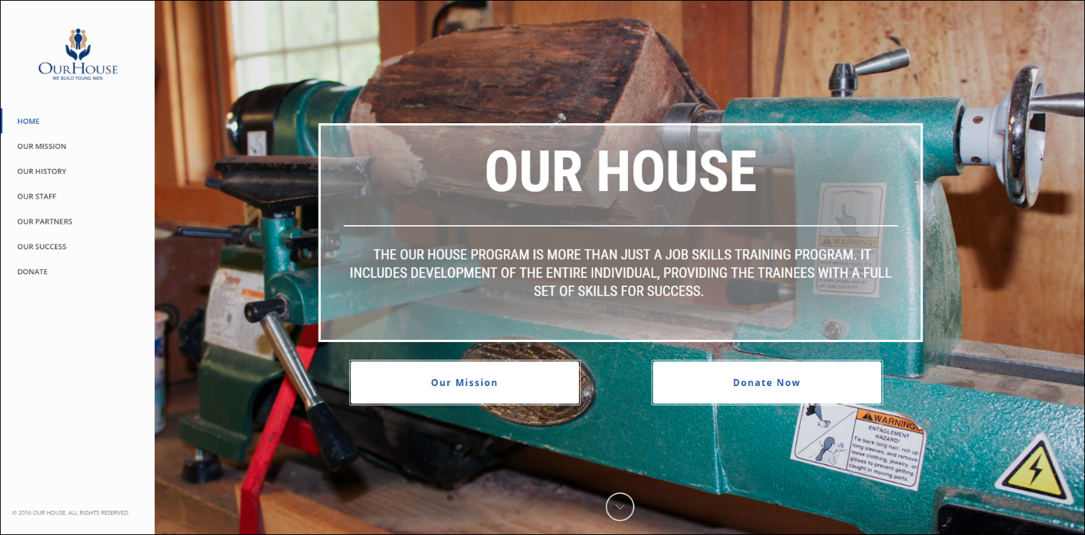 The Our House nonprofit website includes clear navigation, a well-defined focal point, and strong branding.