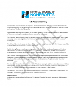 National Council of Nonprofits: Sample Gift Acceptance Policy