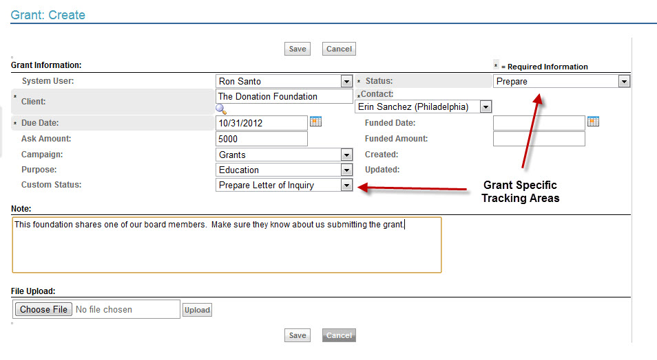 Create a grant opportunity, including custom and specific tracking fields.