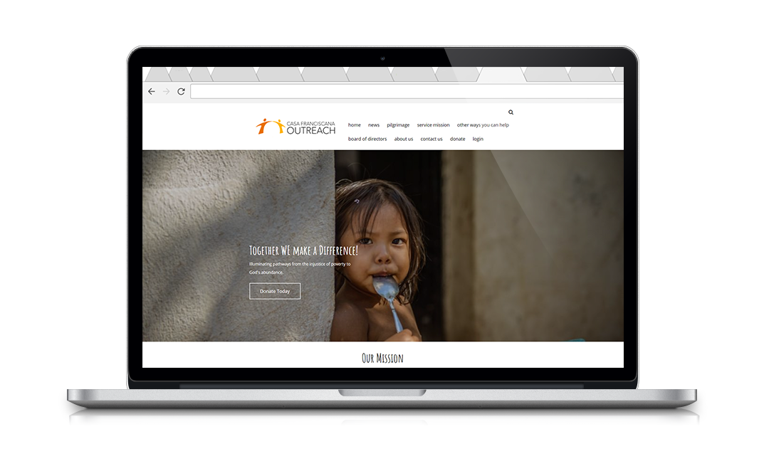 Website for Casa Franciscana Outreach, a Neon nonprofit website and CRM client.