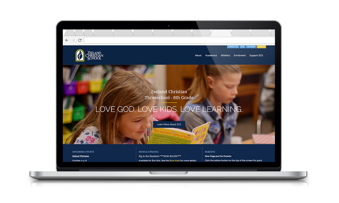 Inspire Website for Zeeland Christian School.