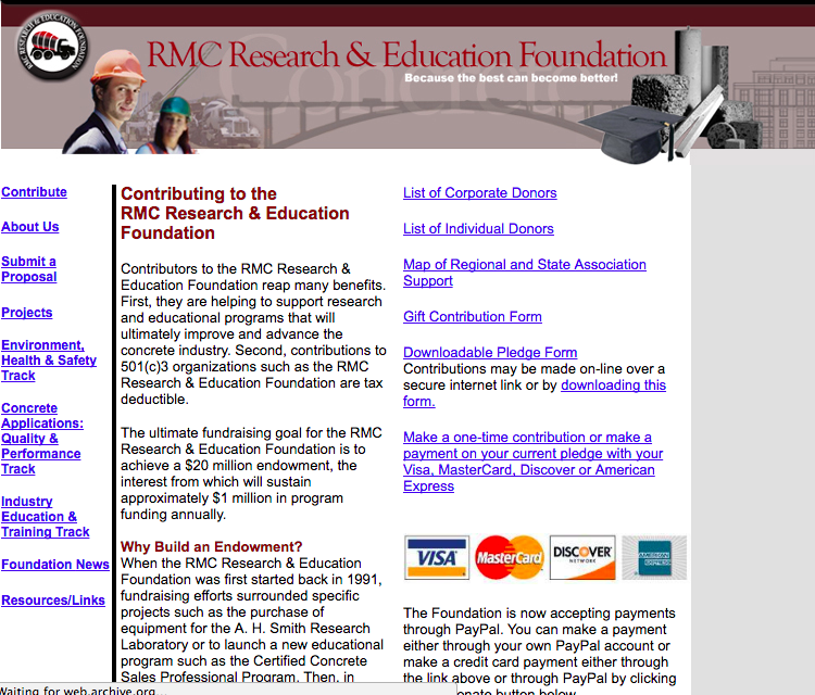 Here's what RMC Foundation's website looked like before they switched to an Inspire Website