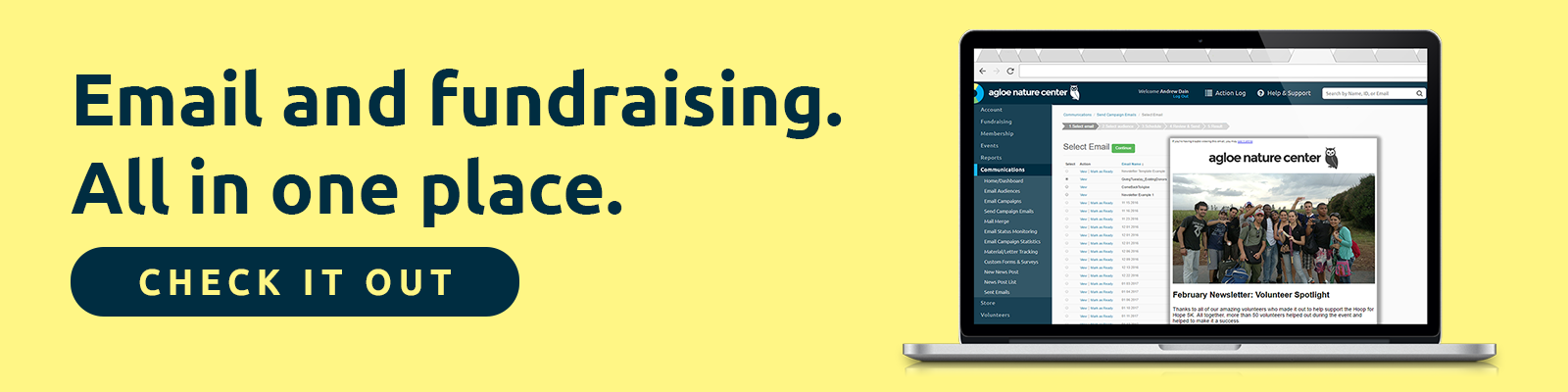 Email and fundraising. All in one place.