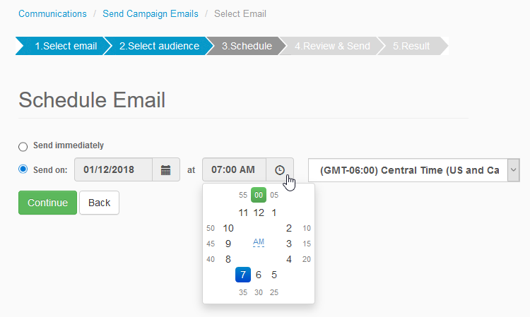 Screenshot: Choose the exact time your campaign email sends with the new advanced email scheduler.