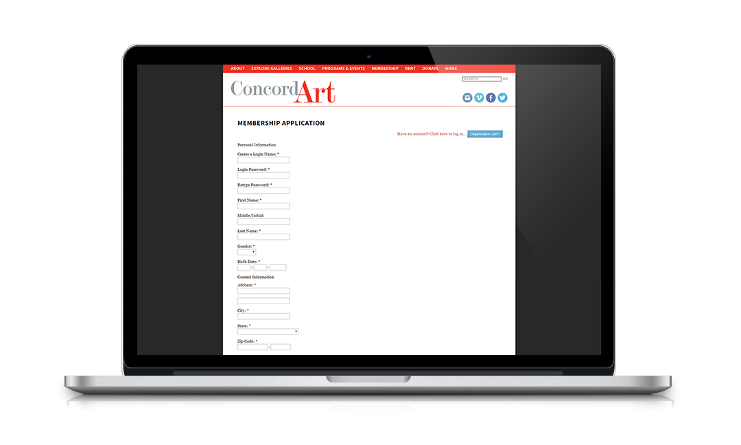 Concord Art uses Neon's seamless website integration to encourage online membership renewals and event registrations.