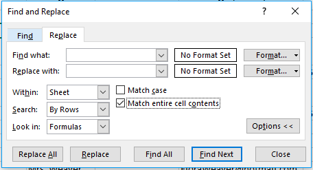When using the find and replace tool in Excel, you can specify certain parameters for matching to ensure only the right values are replaced.