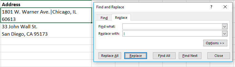 Need to split up a value with multiple lines? Use the find and replace tool to identify line breaks and replace them with a delimiter of your choice.