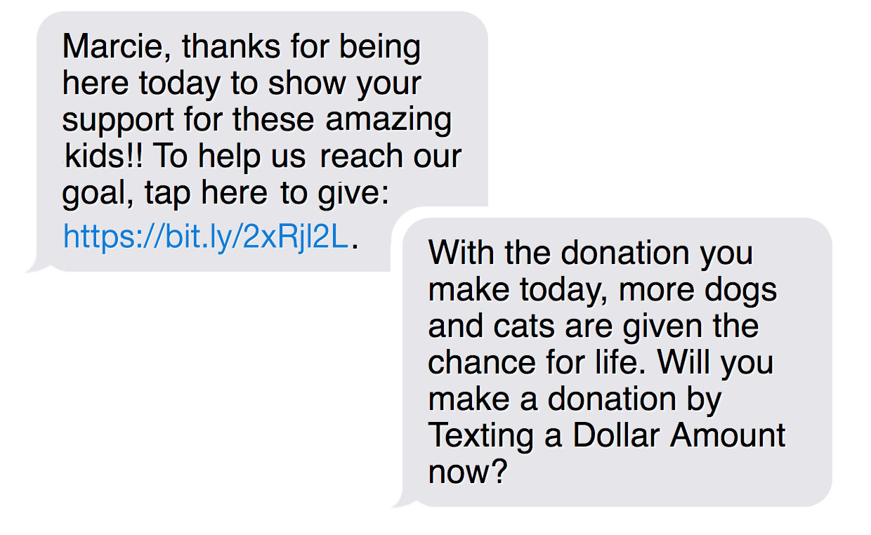 Make sure your donors opt-in to text messaging ahead of time, so you can engage them and send appeals during the event.