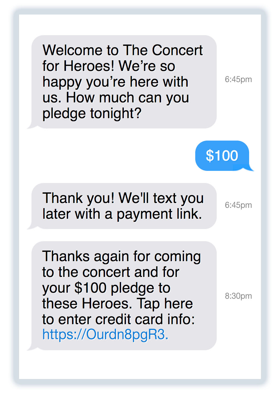 If you're not sure people will be willing to donate via text at your event, consider a text-to-pledge campaign instead.