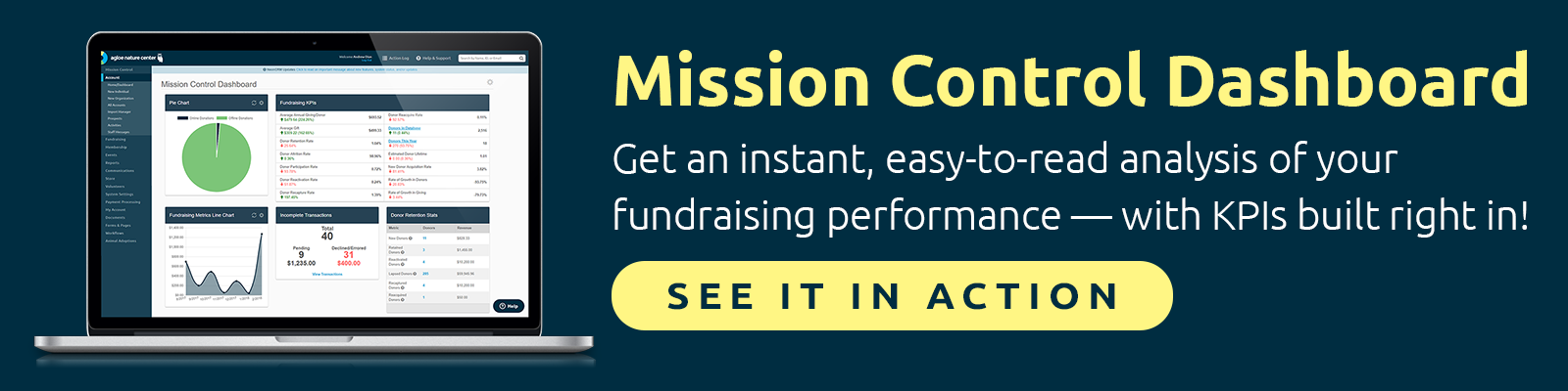 NeonCRM's Mission Control Dashboard gives you instant, easy-to-understand metrics — with the Fundraising KPIs built right in!