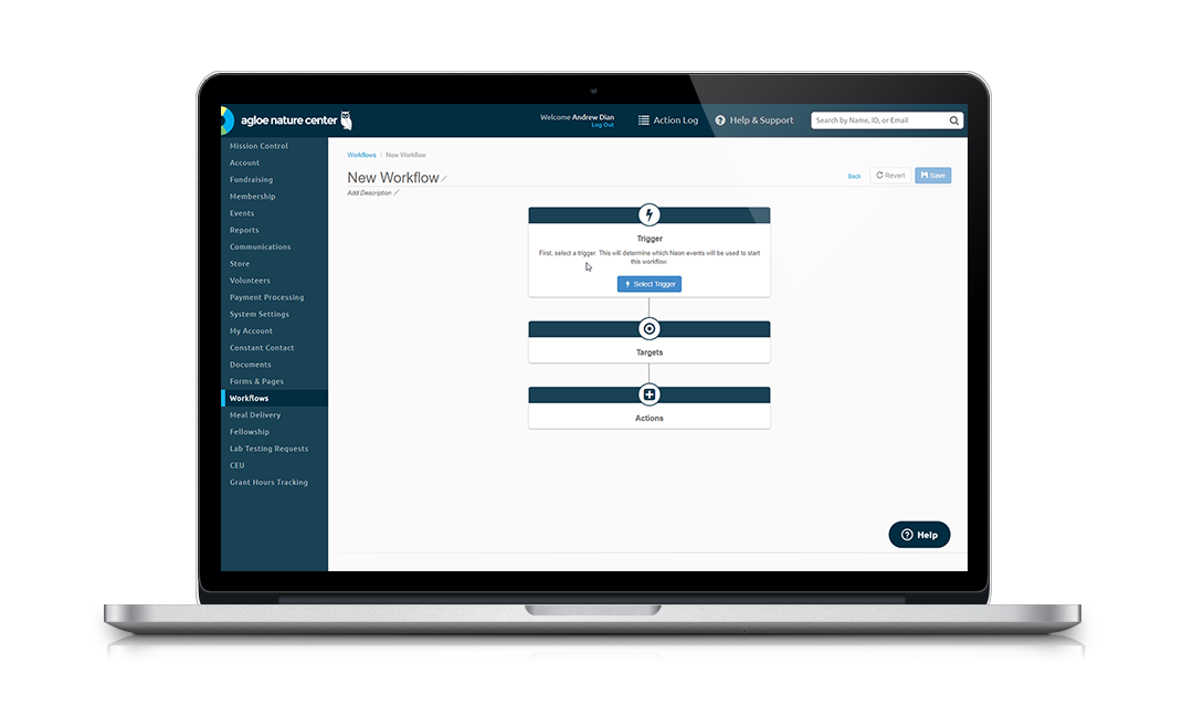NeonCRM's Workflows feature helps you save time by automating repetitive data entry and communications tasks