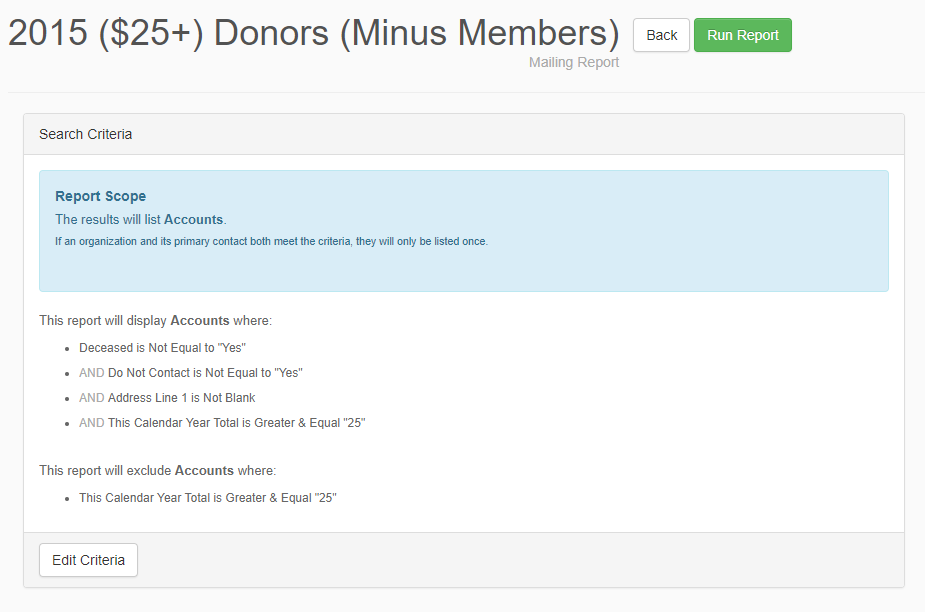 Use a giving level or donation amount report to segment your donors.