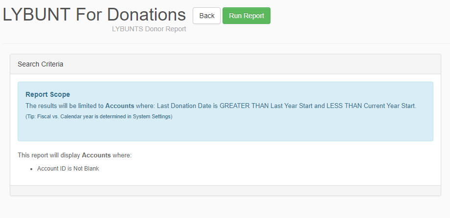 Segment your lapsed donors with a LYBUNT report pulled from your CRM.